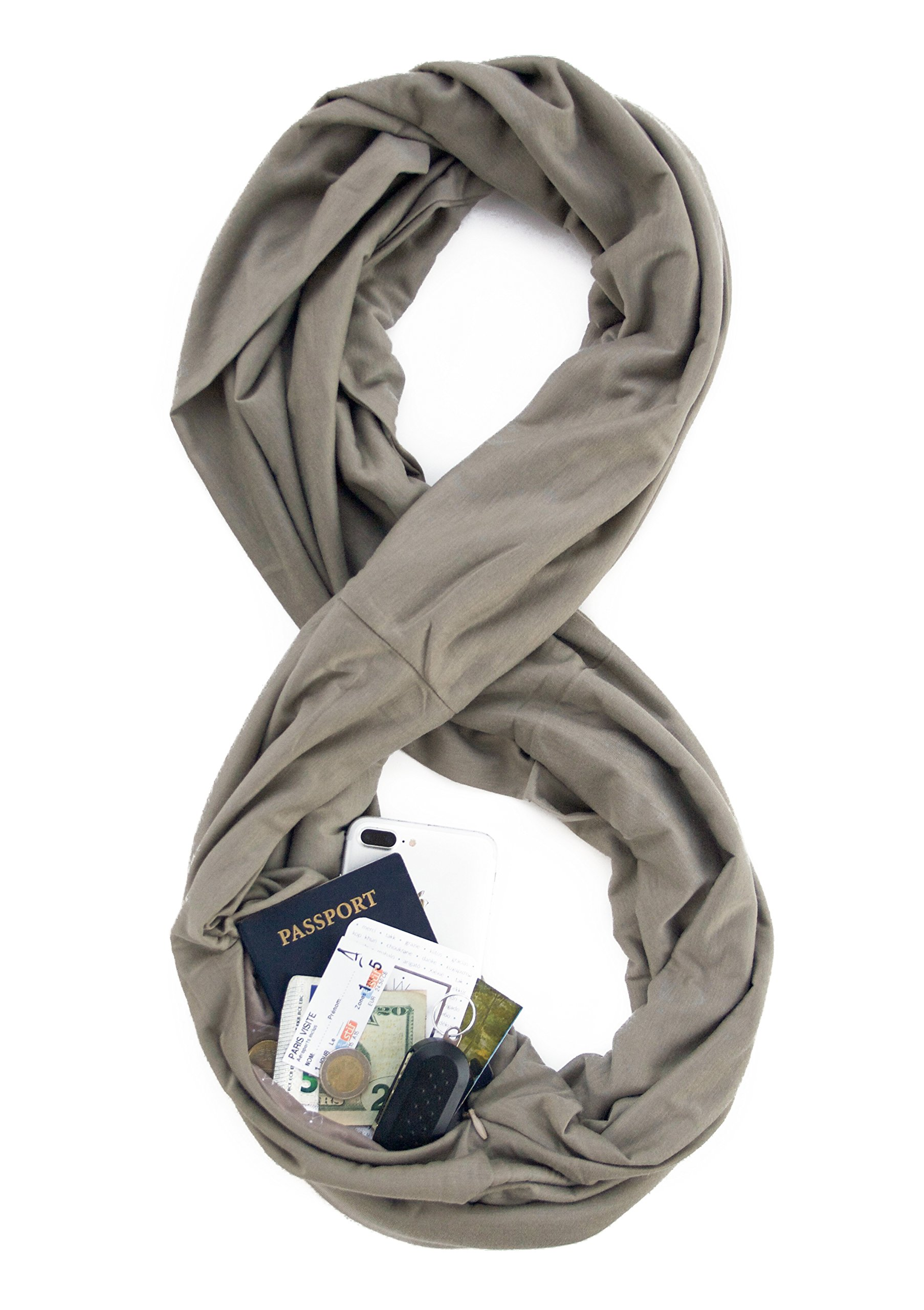 TRAVEL SCARF by WAYPOINT GOODS//Infinity Scarf with Hidden Pocket (Greige)