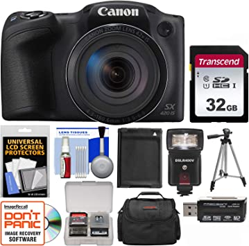 Canon PowerShot SX420 is Wi-Fi Digital Camera (Black) with 32GB Card + Case + Flash + Battery + Tripod + Kit