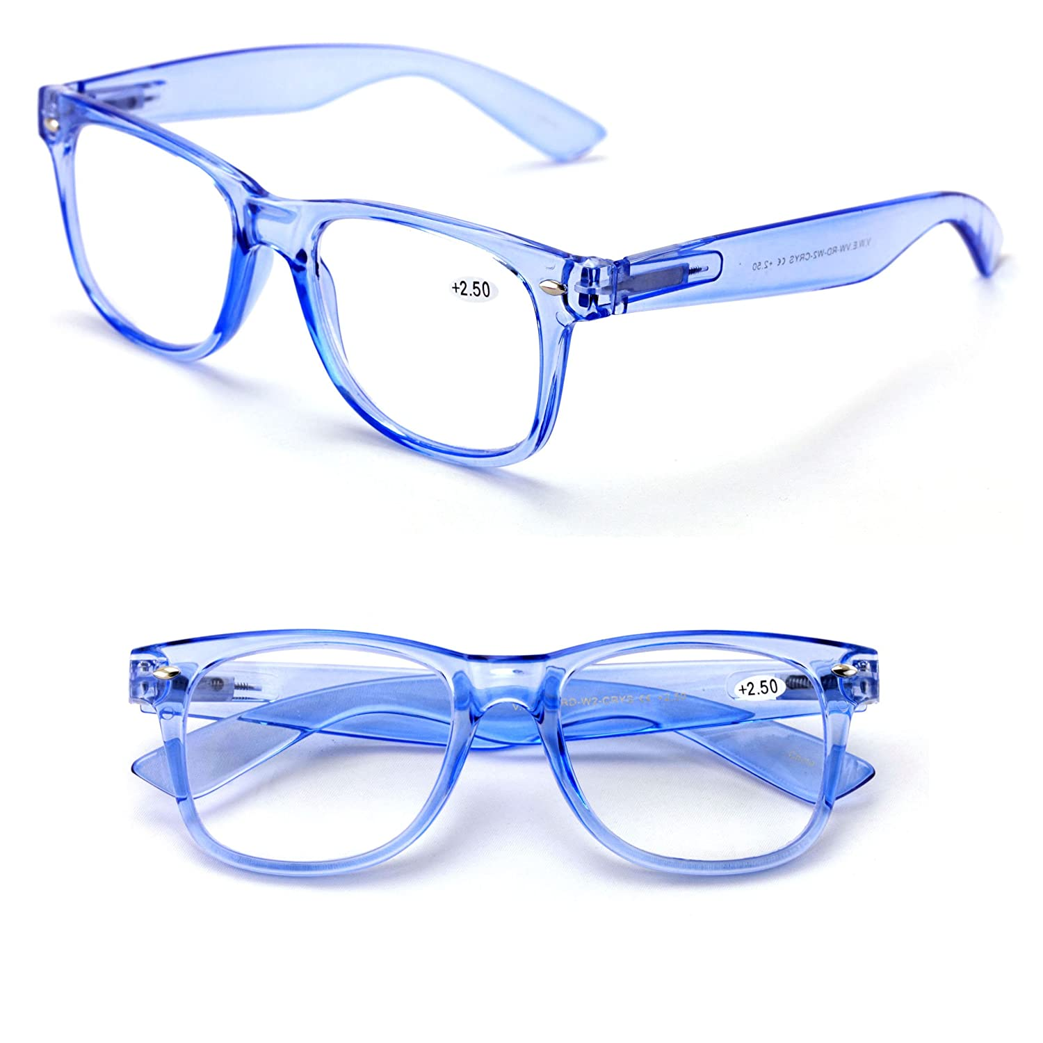 c5b50b303ae Amazon.com  Transparent Neon Color Deluxe Reading Glasses - Comfortable  Stylish Simple Readers Rx Magnification (Blue
