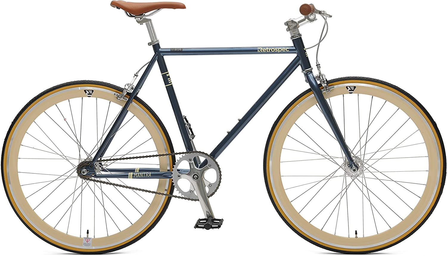 61cm//X-Large Retrospec Bicycles Mantra V2 Single Speed Fixed Gear Bicycle Midnight Blue