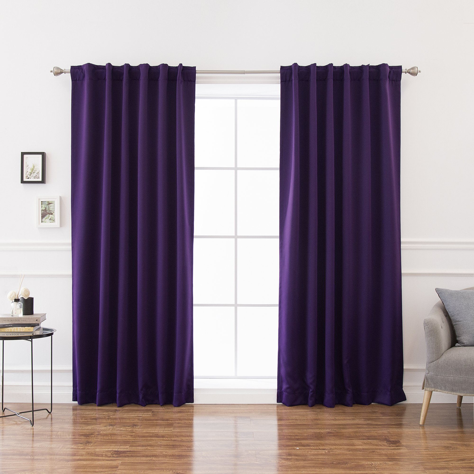 Best Home Fashion Basic Thermal Insulated Blackout Curtains - Back Tab/Rod Pocket - Purple - 52'' W x 84'' L – Tie backs included (Set of 2 Panels)