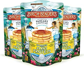 product image for Birch Benders Plant Protein Pancake & Waffle Mix, Vegan, 10g Plant-Based Protein, Whole Grains, Just Add Water, 3 Pack, 14 Oz