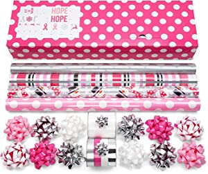 """Pink Wrapping Paper Set with Matching Bows, Ribbon, and Gift Tags for Holidays, Birthdays, Weddings, Awareness: 4 Rolls of 24"""" x 8ft. Premium Gift Wrap with 3 Reversible Designs"""