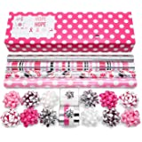 Pink Wrapping Paper Set with Matching Bows, Ribbon, and Gift Tags for Holidays, Birthdays, Weddings, Awareness: 4 Rolls…