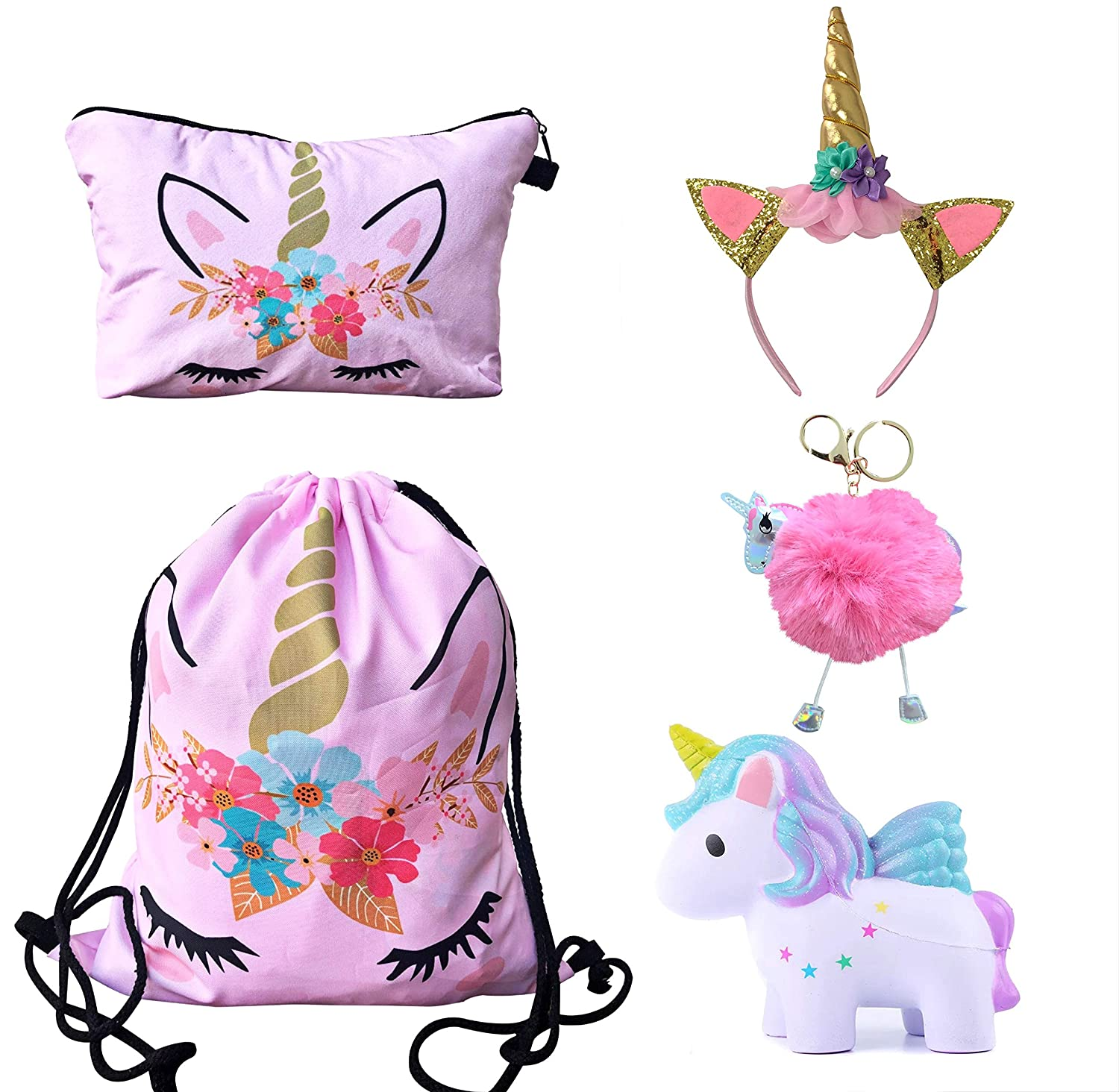 Unicorn Gifts for Girls - Unicorn Drawstring Backpack/Makeup Bag/Headband/Keychain/Unicorn Squishy (Pink Flower Unicorn)