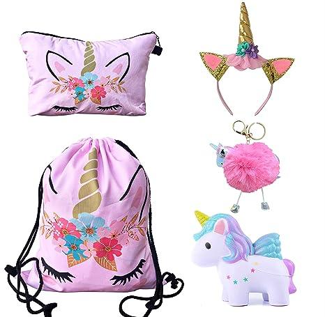 Unicorn Gifts for Girls - Unicorn Drawstring Backpack/Makeup  Bag/Headband/Keychain/Unicorn Squishy (Pink Flower Unicorn)