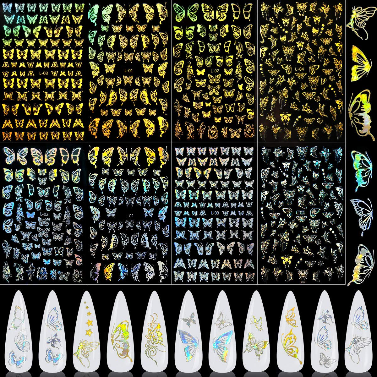 Holographic Butterfly Nail Art Sticker, KISSBUTY 8 Sheets Gold Silver Butterfly Nail Decals Gummed Laser Butterflies Nail Adhesive Stickers Holographic Gold Butterfly Nail Art Decor Butterfly Manicure