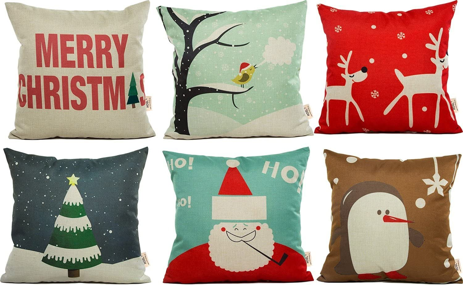HOSL PSD21 Merry Christmas Cotton Linen Square Decorative Throw Pillow Case Cushion Cover