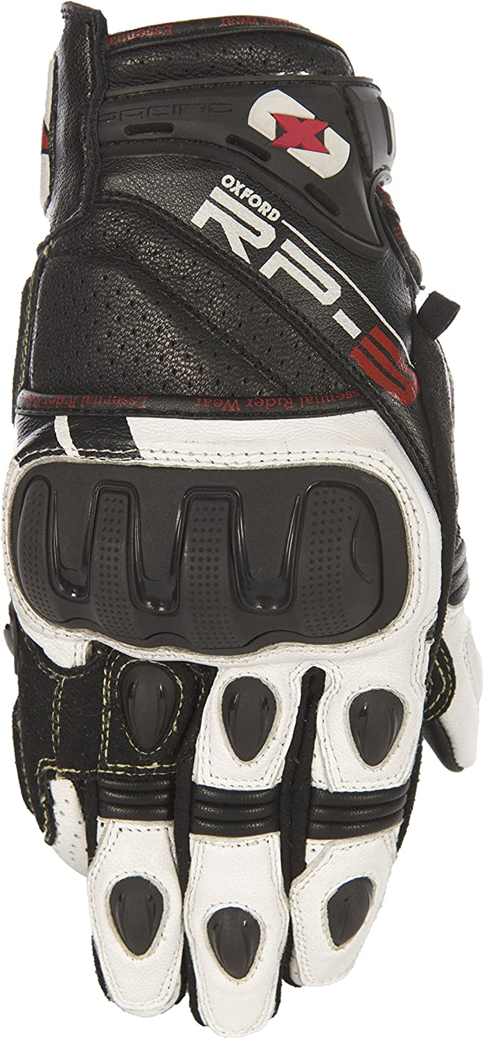 GM205S Oxford RP-3 Leather Short Motorcycle Gloves S Black White