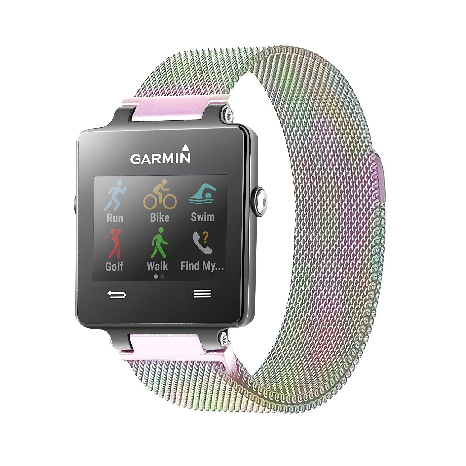 C2D JOY Garmin Vivoactive Milanese Replacement Bands Milanese Stainless Steel Bands For Garmin Vivoactive With Unique Magnet Lock, No Buckle Needed,Small Large Black(6.1-9.0)