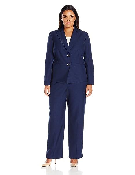 Le Suit Womens Plus Size Two Button Navy Pant Suit