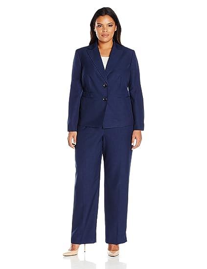 LeSuit Womens Two Button Navy Pant Suit Suit Pants Set