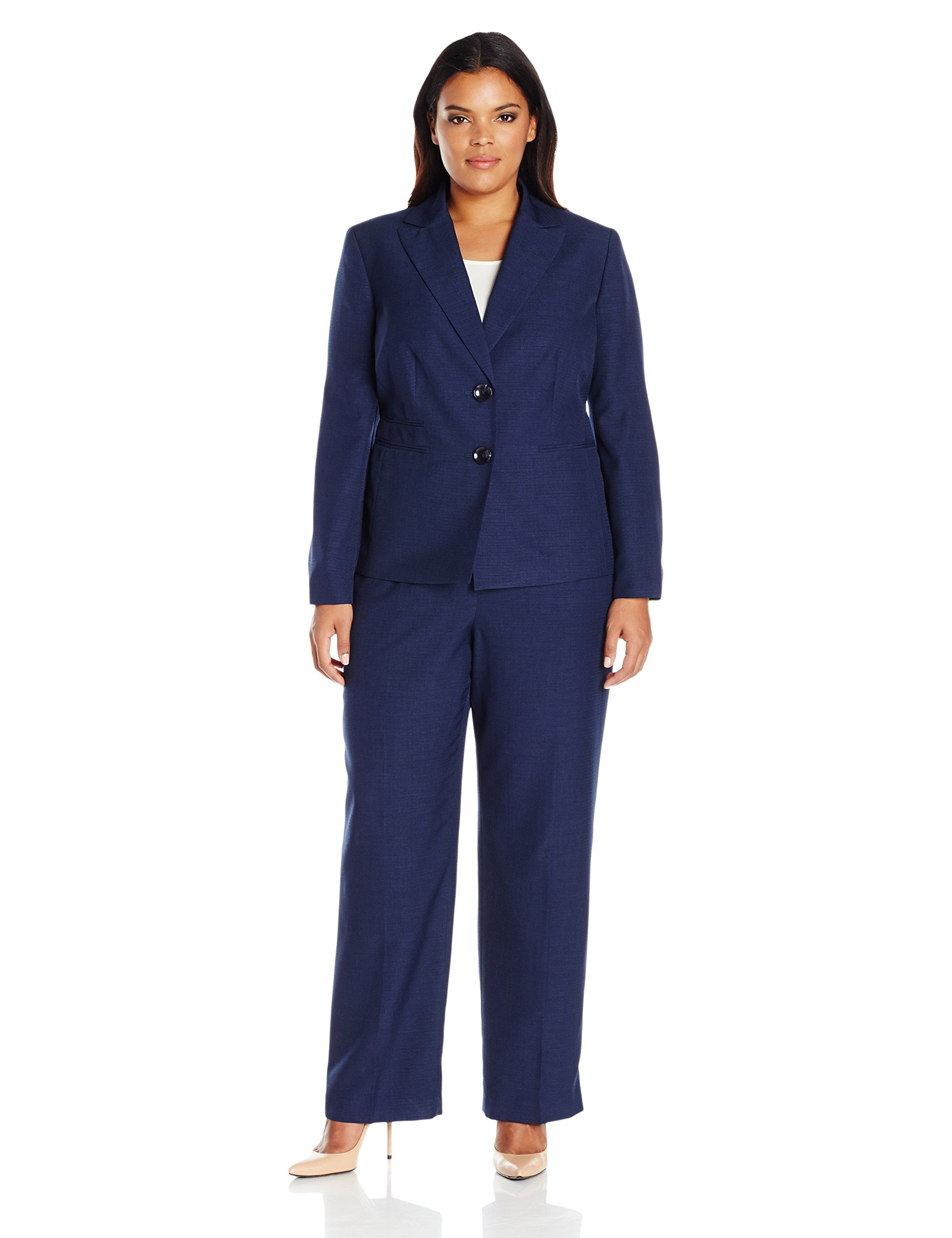 Le Suit Women's Plus Size Two Button Pant Suit, Navy, 18W