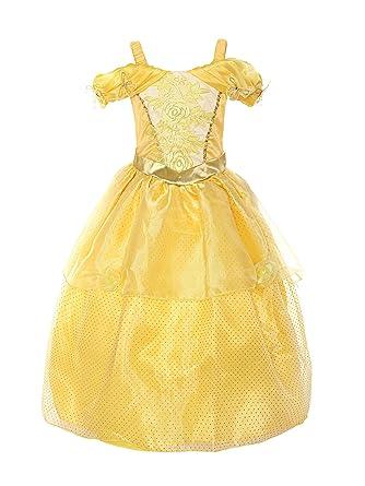 47cf3f491 ReliBeauty Girls Princess Belle Costume Drop Shoulder Dress up, Yellow, 8Y:  Amazon.co.uk: Clothing