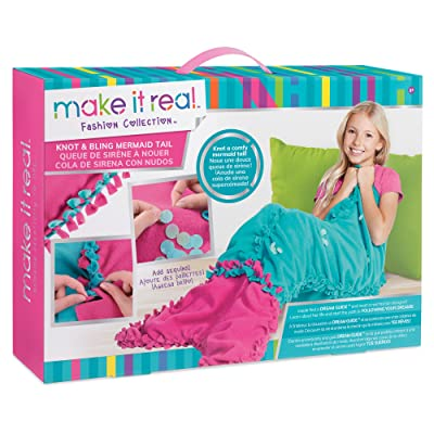 Make It Real - Knot and Bling Mermaid Tail Blanket.  Educational DIY Arts and Crafts Kit Guides Kids to Create a Knotted Fleece and Sequin Mermaid Tail Wearable Blanket: Toys & Games