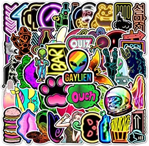 Olort 50 Pack Cute Rainbow Stickers for Water Bottle Laptop, Computer Tablet Kids Women Girls Teens Vinyl Stickers Symphony Rainbow Colorful Graffiti Sticker