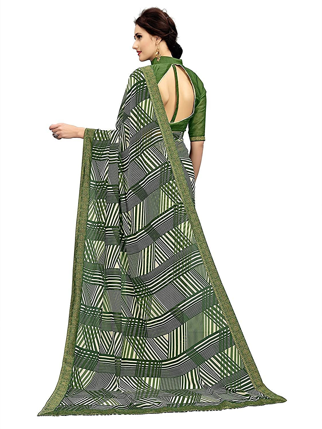 80cb3005de Sarees(Rajeshwar Fashion Women's Green Georgette Printed Saree With Blouse(designer  sarees for party wear sarees for women sarees below 1000: Amazon.in: ...