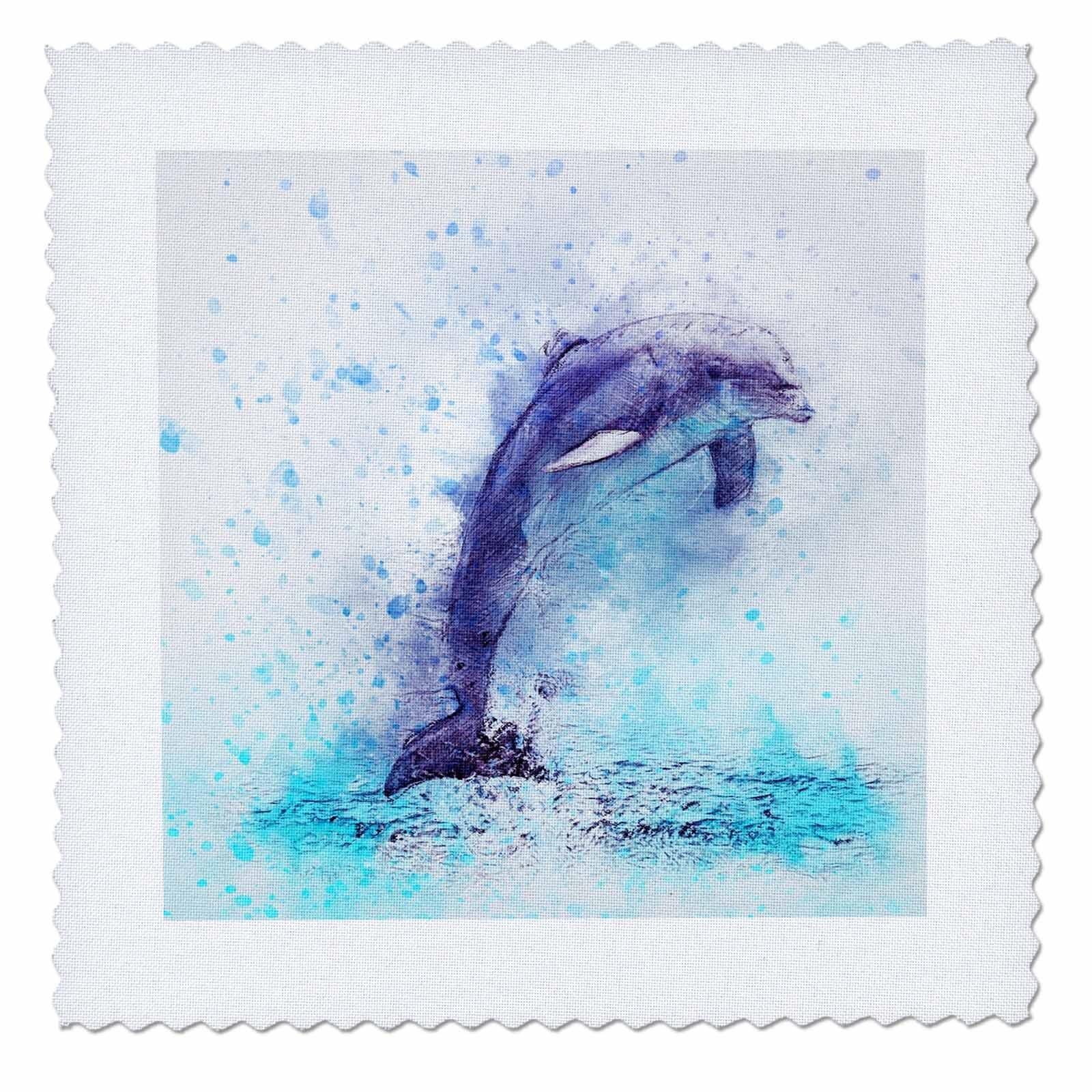 3dRose Sven Herkenrath Animal - Funny Watercolor Dolphin Sealife Ocean Fish Underwater - 25x25 inch quilt square (qs_280301_10)