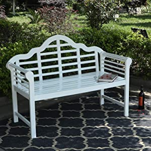 """Sophia & William Outdoor Patio Acacia Wood Bench White, PU Coating Wooden Bench with Backrest and Armrests for Porch, Patio, Garden, Lawn, Balcony, Backyard and Indoor, 53.0""""Wx24.4""""D x38.2""""H"""