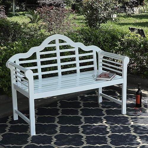Sophia William Outdoor Patio Acacia Wood Bench White