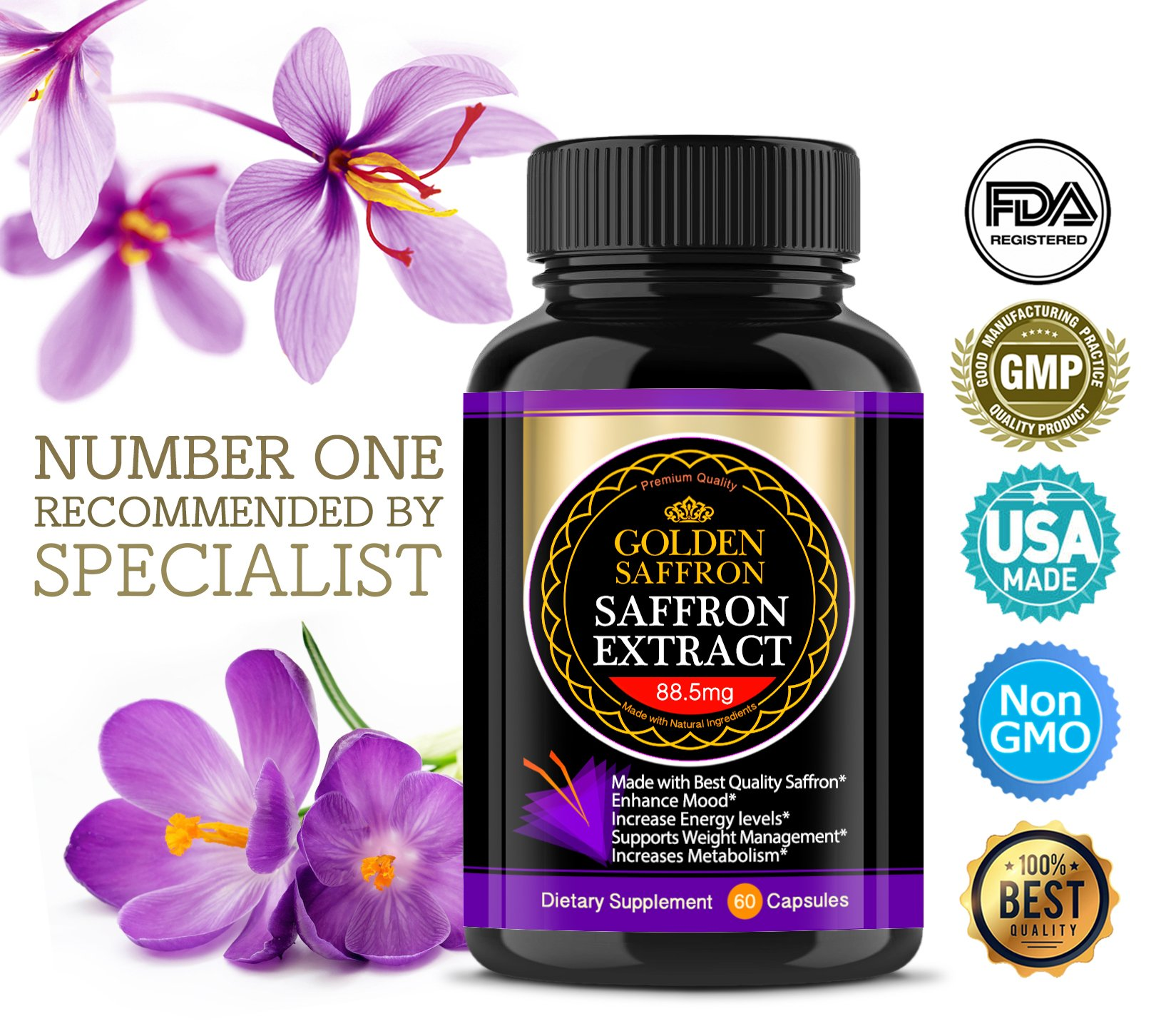 Golden Saffron, Saffron Extract 8825 (Vegetarian) - Best All Natural Appetite Suppressant That Works - 88.5 mg per capsule - Manufactured by Highest Quality Saffron, Non-GMO, 30 Day Supply