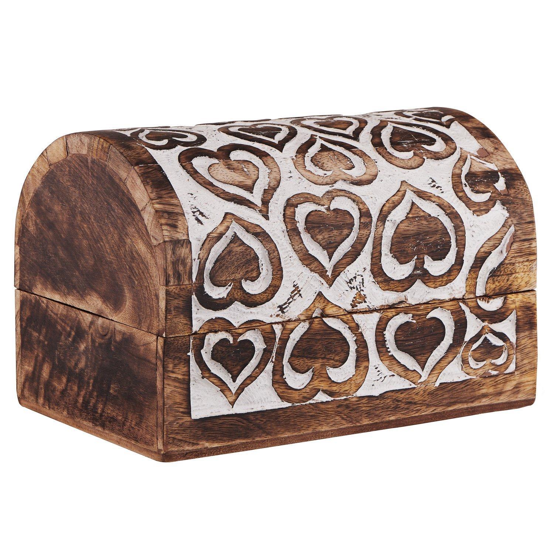 Absolute India Mothers Day Gift Decorative Wooden Jewelry Box Trinket Organizer Keepsake Storage Box Multipurpose Accessories 9 x 6 Inches - Mango Wood. (1)