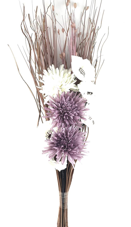 SIMPLY GIFT SOLUTIONS LTD HANDMADE ARTIFICIAL SILK CREAM POPPY FLOWERS & LILAC POM POM FLOWERS GRASS BOUQUET 80cm READY FOR VASE