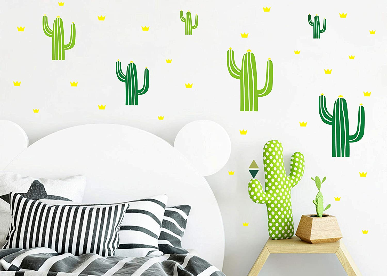 Cactus Wall Decals, Crown Wall Decal, 2 Color Cactus Nursery Decor, Vinyl Wall Decals for Baby Girls Boys Kids Bedroom Living Room, Wall Decals for Nursery Y21 (Green)