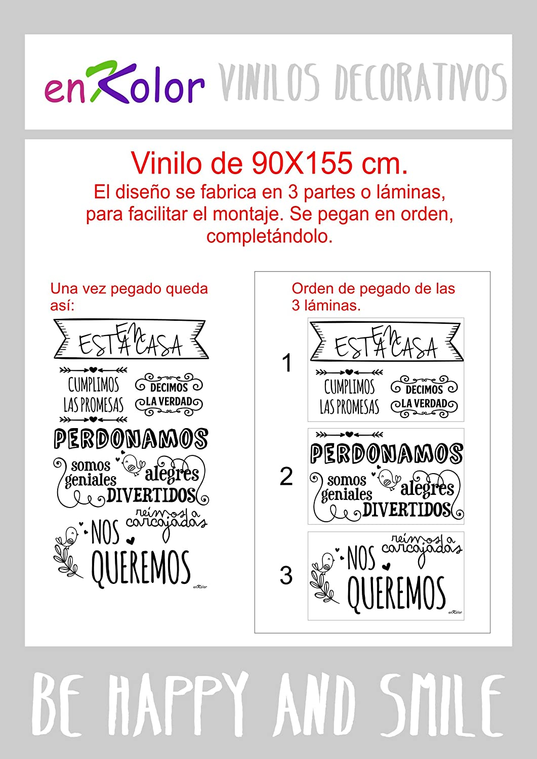 Enkolor Vinilos decorativos frases Normas casa/Pegatinas pared/Blanco/90X155cm. Color blanco: Amazon.es: Hogar