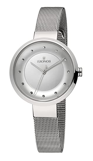 Kronos - Ladies White 997.8.102 - Reloj de señora de cuarzo, brazalete de
