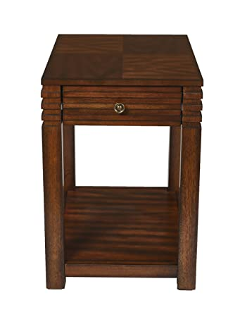 New Classic Parquet Burnished Walnut Chair Side Table
