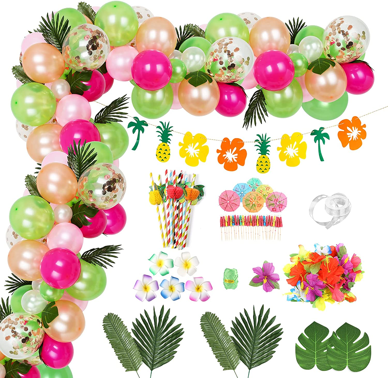 Auihiay 173 Pieces Hawaiian Tropical Party Decor Set Include Luau Balloon Garland, Jungle Leaf and Pineapple Banner for Summer Theme Party Birthday Party Baby Shower Decorations Photography Backdrop