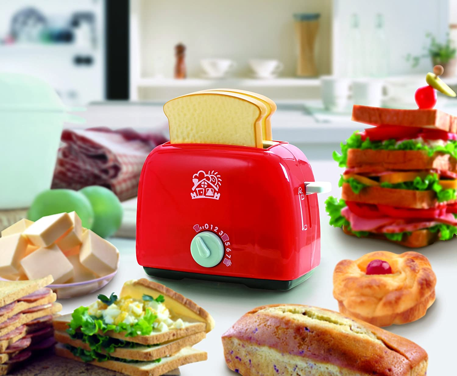PlayGo Lightweight Play Kitchen Bread Slices Toaster Toy Pretend Play Pop-Up for Kids Age 3 Years /& Up Midos Toys Distributor 3152