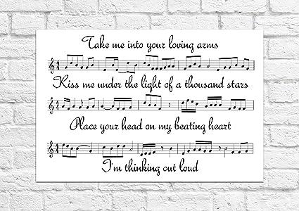 Ed Sheeran Thinking Out Loud Song Sheet Lyrical Art Unframed Print