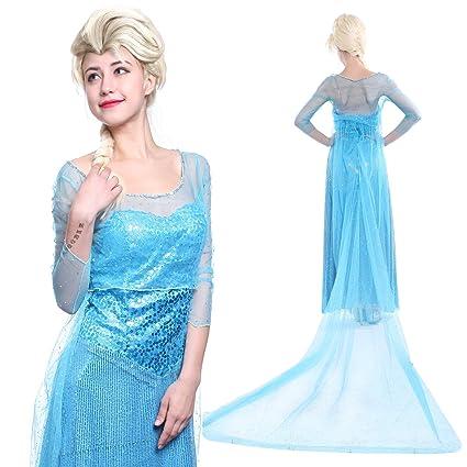 Maboobie - Disfraz Frozen Elsa Reina del Hielo Vestido de Lujo Halloween para Mujer Adulto (