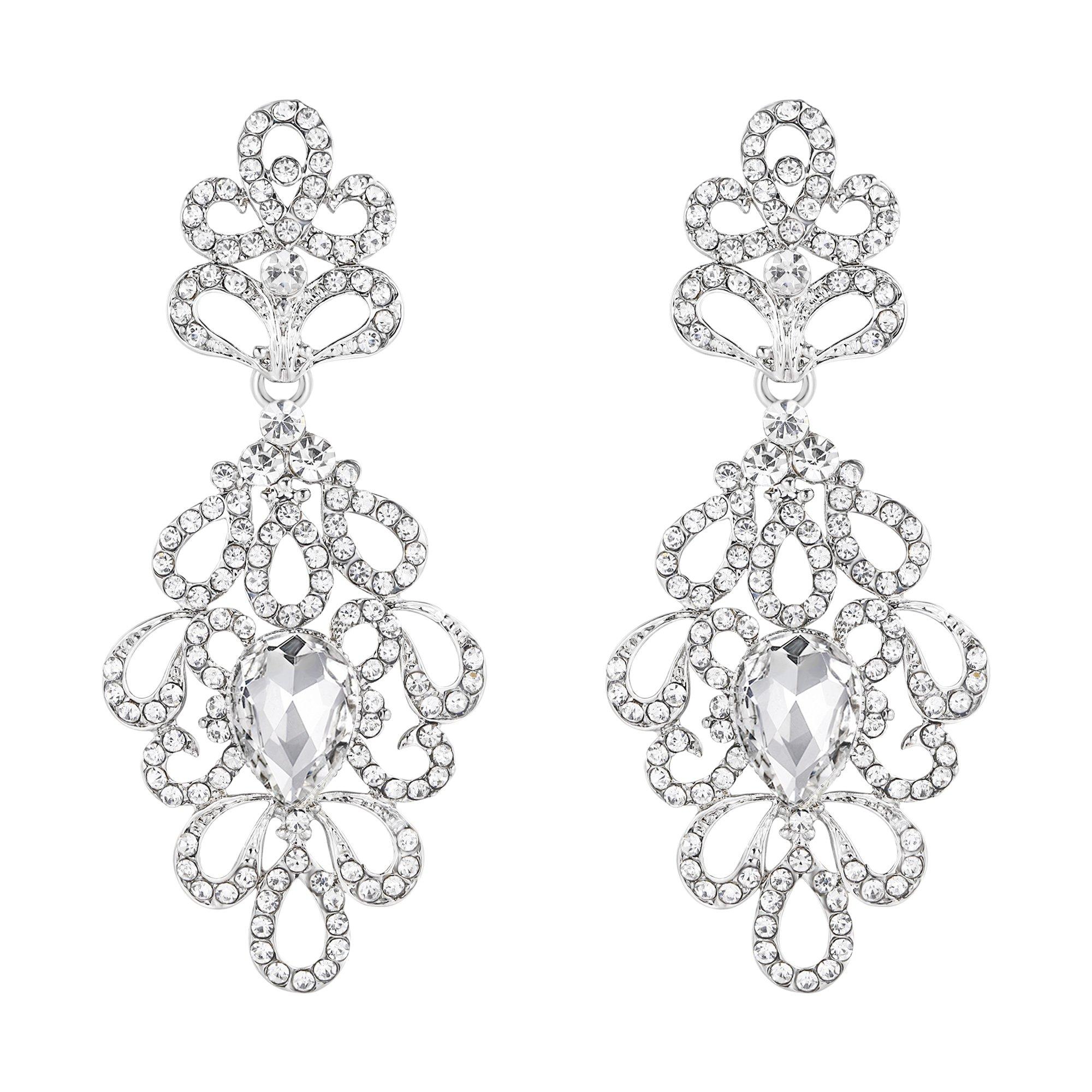 BriLove Women's Wedding Bridal Dangle Earrings Vintage Style Floral Hollow Crystal Teardrop Chandelier Earrings Clear Silver-Tone