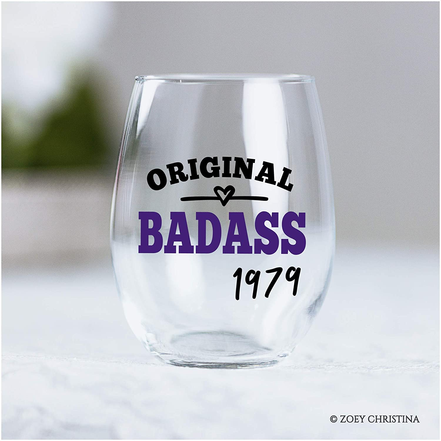 Funny 40th Birthday Gifts for 40 Year Old Women Original Badass Since 1979 Stemless Wine Glass 0231