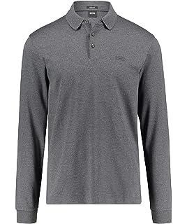 d1a970725 BOSS Green Hugo Pado 11 Plain Long Sleeved Jersey Polo Dark Grey 061  50391826