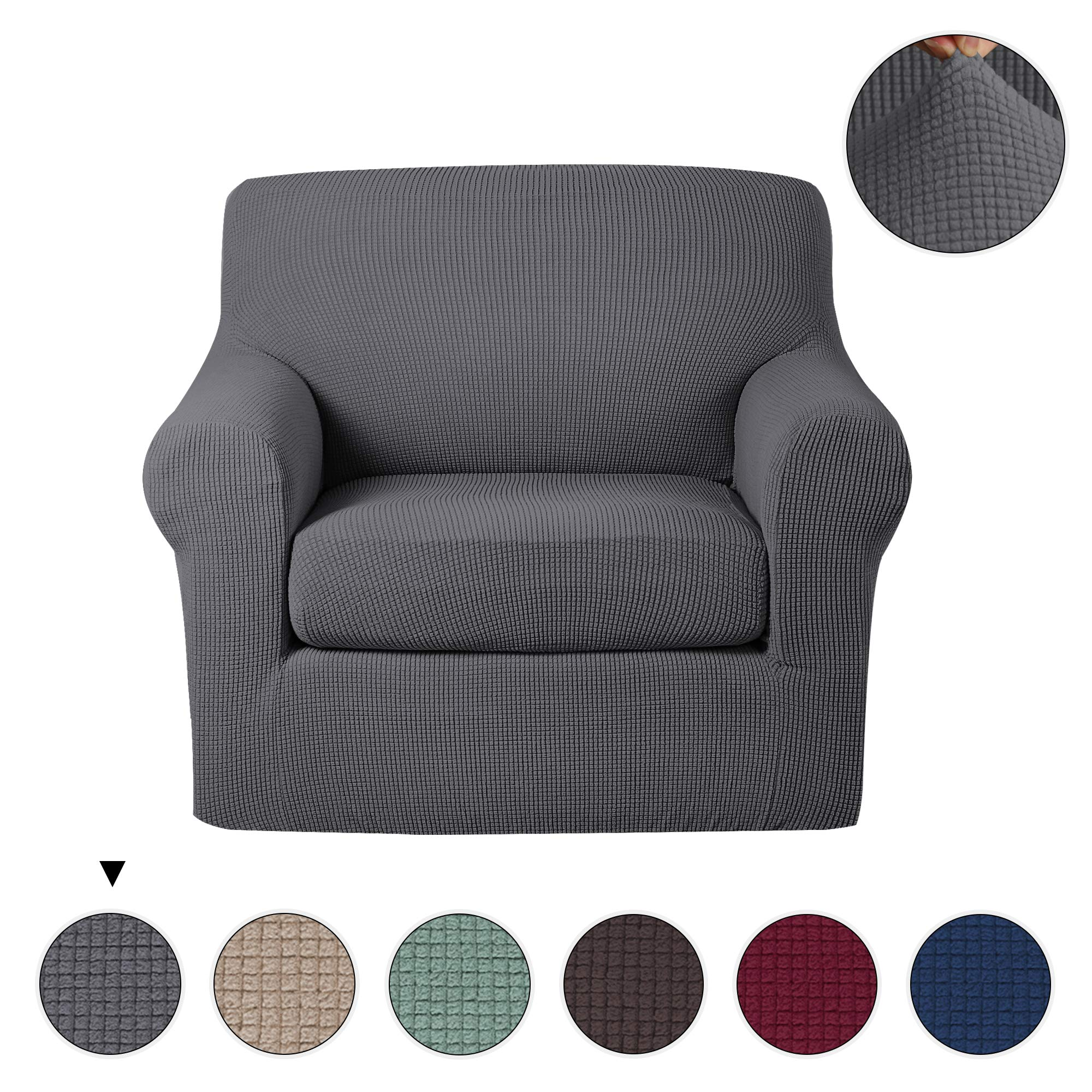 Turquoize 2 Piece Stretch Spandex Slipcovers Elastic Bottom Chair Couch Shield, Polyester Jacquard Fabric Small Checks Cover(Chair,Grey)