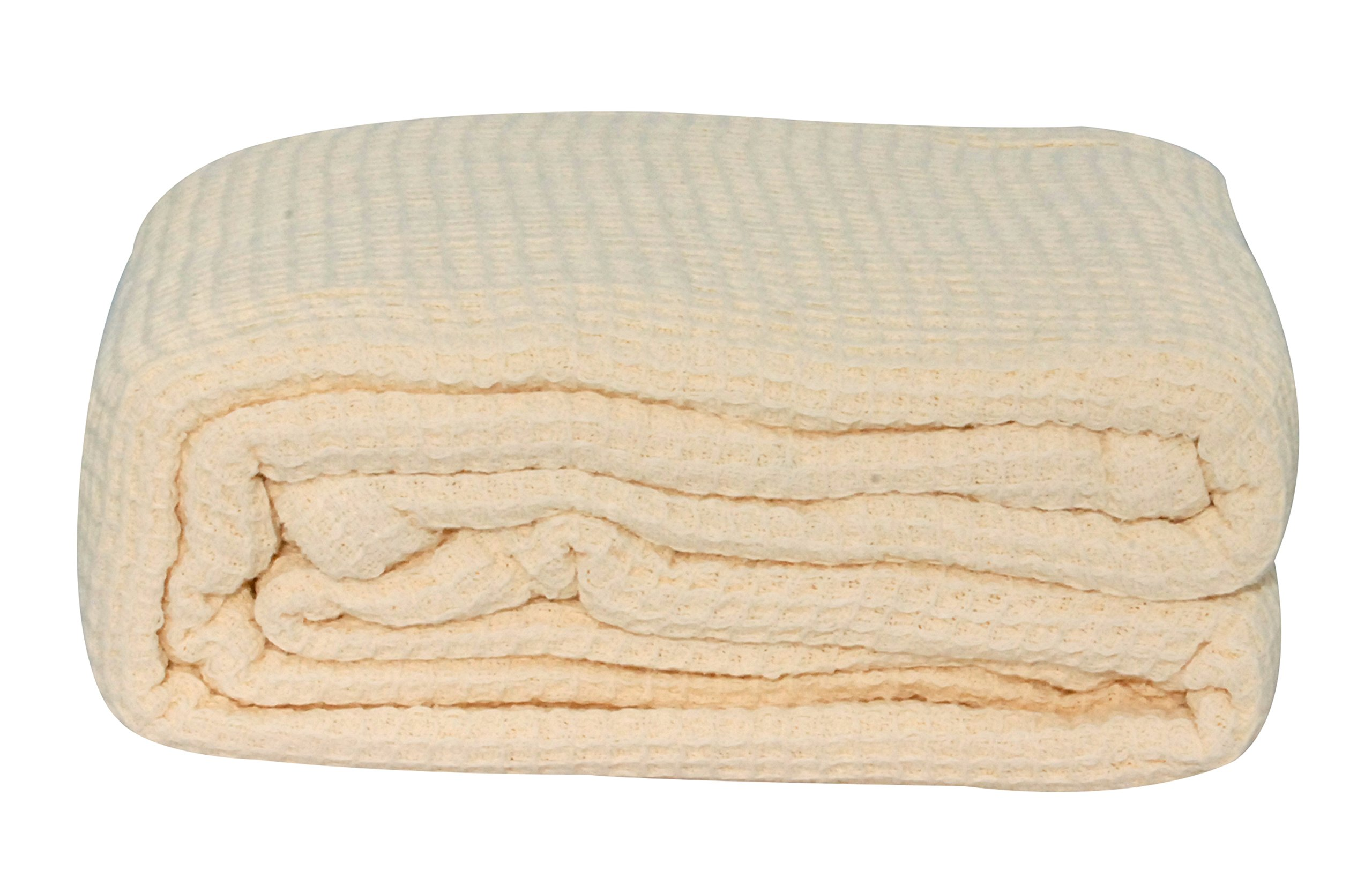 LCM Home Fashions Cotton Thermal Blanket, King, Ivory