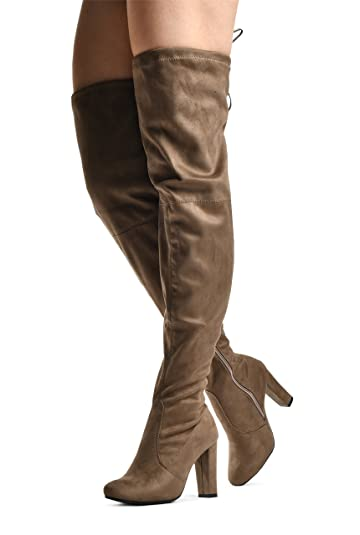 Women's Ashley01 Over the Knee Boots - Drawstring Block Heel Pointy Round Toe - Stretchy Thigh High Snug Fit Boots