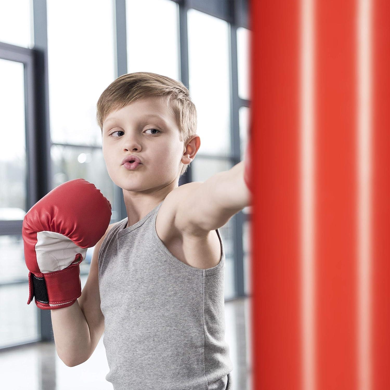 Relaxdays Niños Saco Boxeo, Punching Ball Hinchable, Boxing Bag Infantil, Juguete Antiestrés, 160 cm, PVC, Negro-Rojo