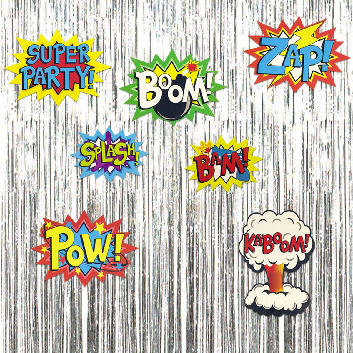 Large Superhero Action Signs Cutouts 12PCS Words and Cityscape Cut-Outs for Party Decoration by Fancy Land (Image #5)