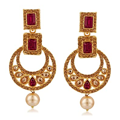 a058c063839 Buy Rich Lady Gold Plated Indian Stylish Green Long Partywear Earrings For  Women And Girls Online at Low Prices in India