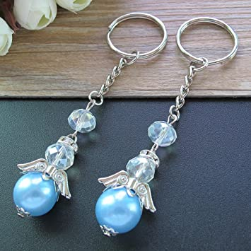 Amazon.com: Bautismo Plata Ángel azul llavero Favors 12 pcs ...