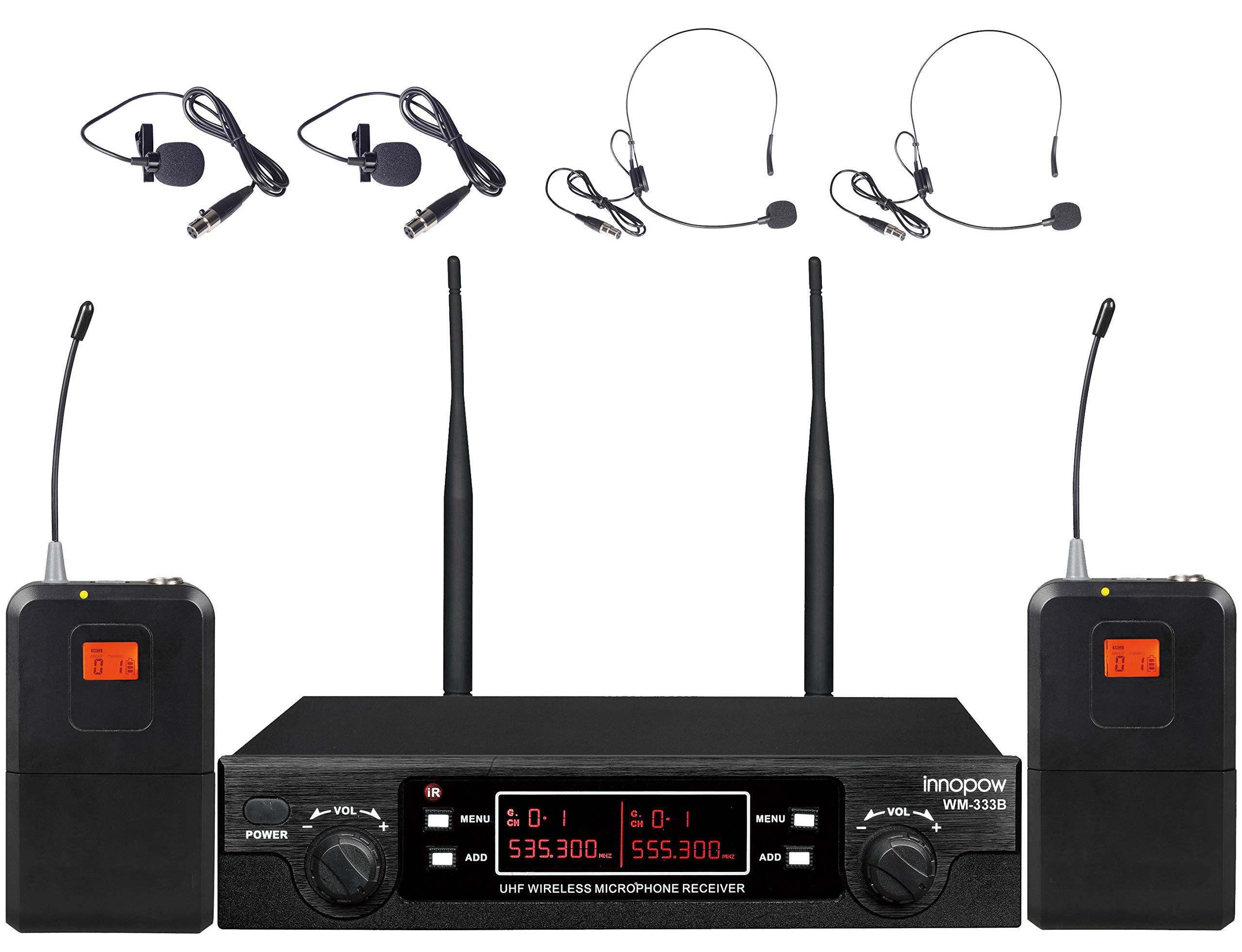 innopow 80-Channel Dual UHF Wireless Microphone System,inp Cordless mic Set, 2 Headset& 2 Lapel Lavalier Microphone, Long Distance 200-240Ft Prevent Interference,16 Hours Use for Church, Weddings by INNOPOW