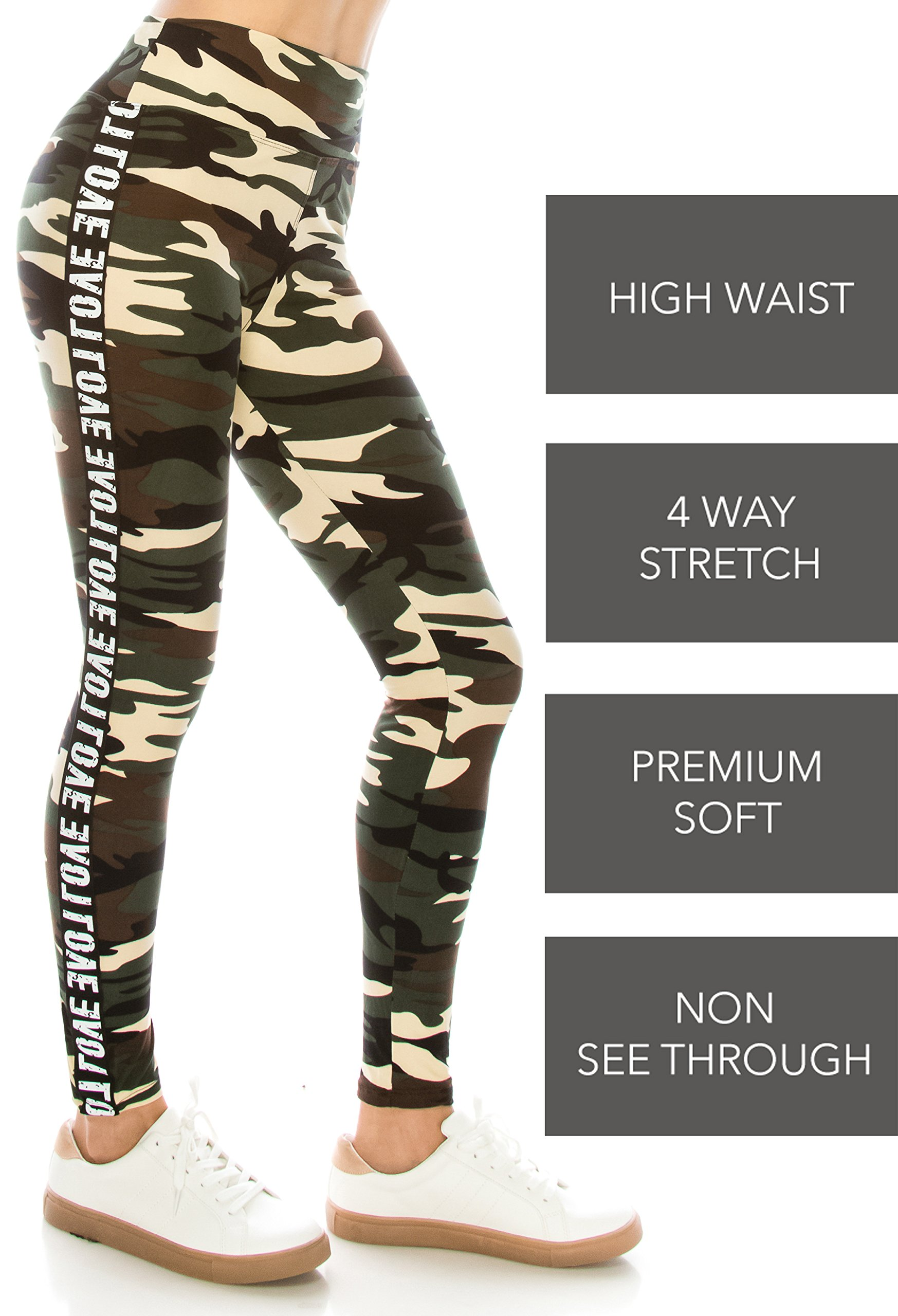 ALWAYS Legging Women Track Pants - Premium Soft Stretch Buttery Camo Print Love Elastic Band 57 One Size