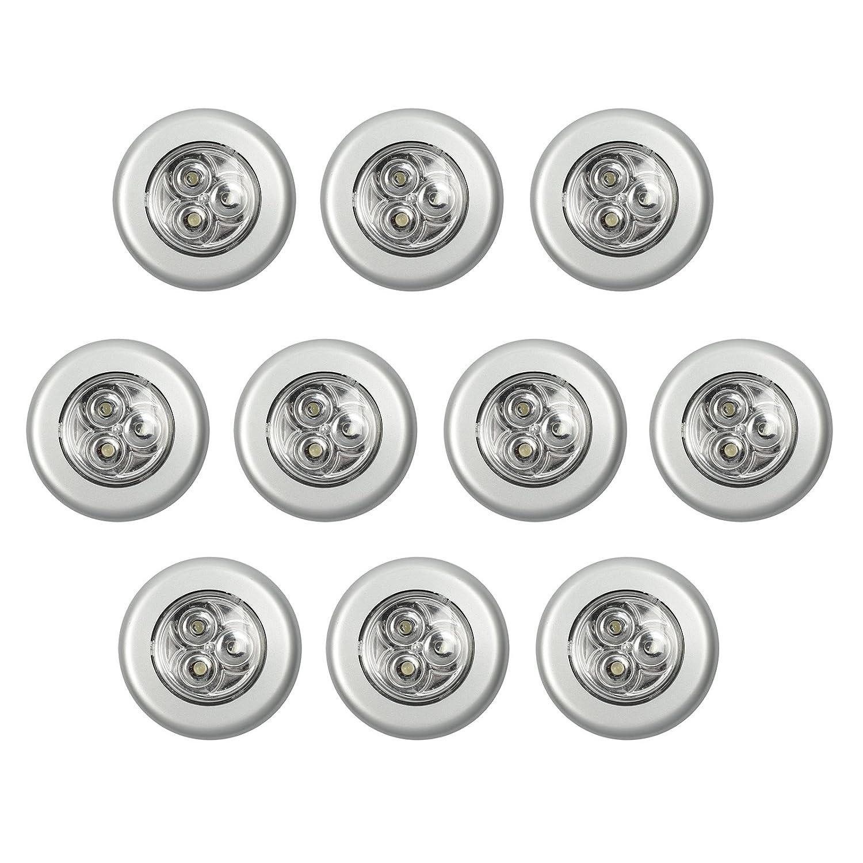 Justech 10 x LED Luz de Noche Iluminación Luces de Pared Touch On / Off Pegamento de Doble Cara Blanco Para la Sala de Cocina, Almacenamiento, Ático Vertiente,Caja de Herramientas,Caravana de Barcos