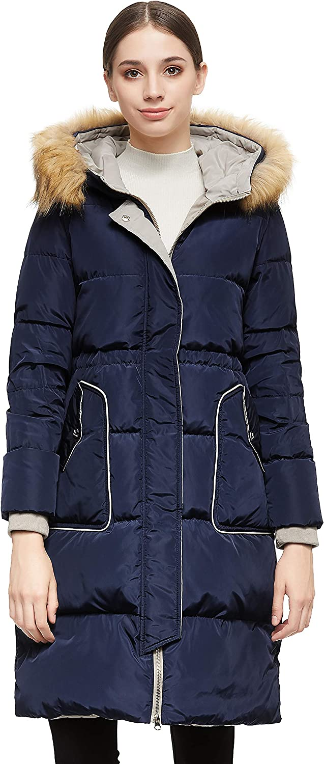 Orolay Women's Winter Down Coat with Hood Casual Jacket Mid Length
