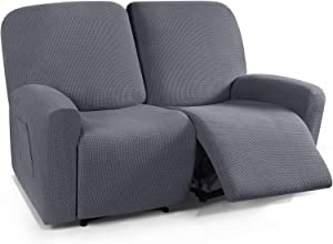 TAOCOCO Recliner Loveseat Slipcover, 6 Pieces Dual Recliner Sofa Covers for 2 Seat Dual Reclining Loveseat Couch, Stretch Soft Jacquard Pattern Furniture Protector with Elasticity Grey